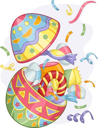부활절 일요일 다채로운 부활절 달걀 사탕의 그림 스톡 콘텐츠