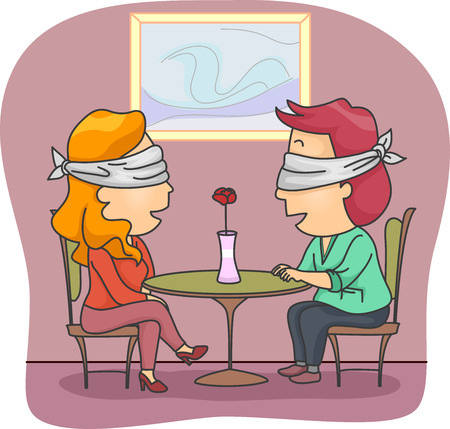 Blind Date: Illustration of a Man and Woman Set Up on a Blind Date