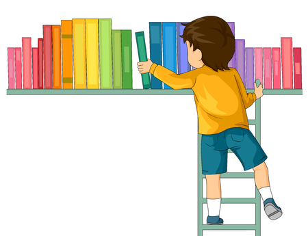 finding: Illustration of a Boy Inside a Library Finding Book with a Ladder Stock Photo