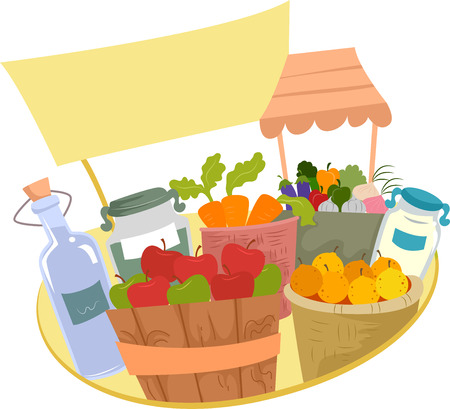apples and oranges: Illustration of Fruits and Vegetables Stand at the Market with Blank Sign