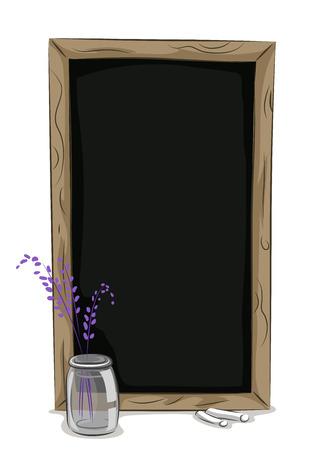 flower vase: Illustration of a Chalkboard Frame and a Flower vase Stock Photo