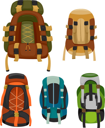 backpack: Illustration of Colorful Camping Backpacks