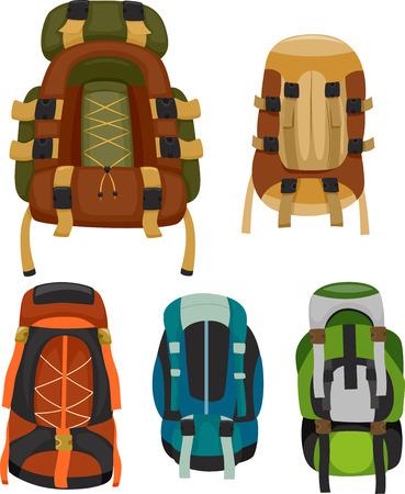 MOCHILA: Ilustración de coloridas mochilas de camping Foto de archivo