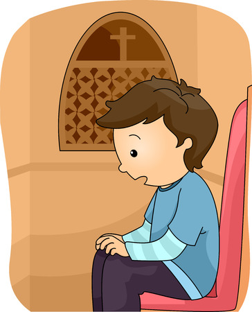 Illustration of a Boy Inside a Confession Booth