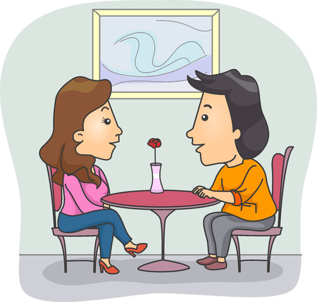 talking: Illustration of a Couple Chatting in a Fine Dining Restaurant