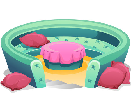 round table: Illustration of a Round Conversation Pit with Pillows