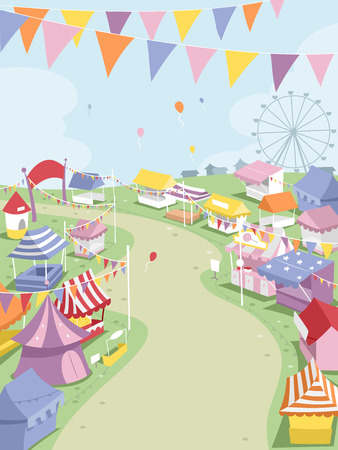 theme park: Illustration of a Big Theme Park Surrounded by Festival Booths Stock Photo