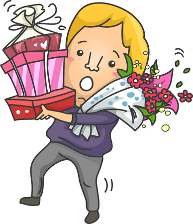 courtship: Illustration of a Clumsy Man Carrying a Tall Stack of Gifts Stock Photo