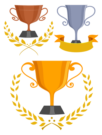 trophies: Illustration of Trophies with Laurel Leaves and a Ribbon Stock Photo