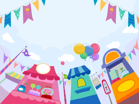 outdoor event: Illustration of Candy Stores at the Theme Park Stock Photo