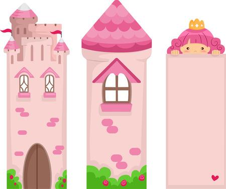castillos de princesas: Ilustración de un conjunto de Pink Princess Bookmark Imprimibles