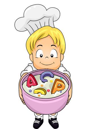 Ilustración de un niño que llevaba un traje de cocinero mientras que muestra un montón de sopa de letras del alfabeto Foto de archivo - 55304134