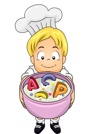 Illustration of a Boy wearing a Chef Costume while showing a Soup loads of Alphabet letters