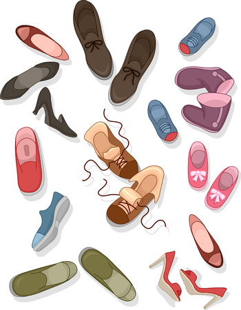 disorganized: Illustration of Different sizes and styles of Shoes