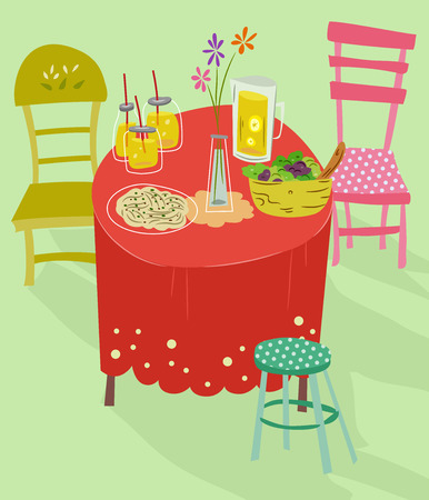 setting: Illustration of a Whimsical Table Setting Stock Photo