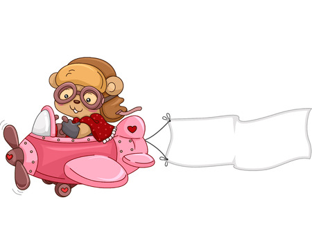 stuffed: Illustration of a Female Bear Stuffed Toy while Riding an Airplane with a Banner
