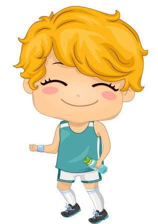 healthy kid: Illustration of a boy wearing a Jogging Outfit