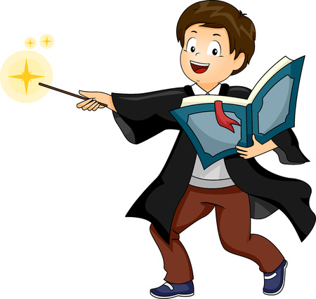 superstition: Illustration of a Boy performing as a Wizard while doing a Cast Spell