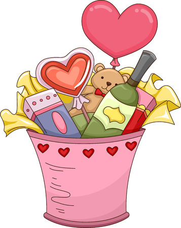 gift basket: Illustration Featuring a Valentine Gift Bucket Filled with Assorted Presents