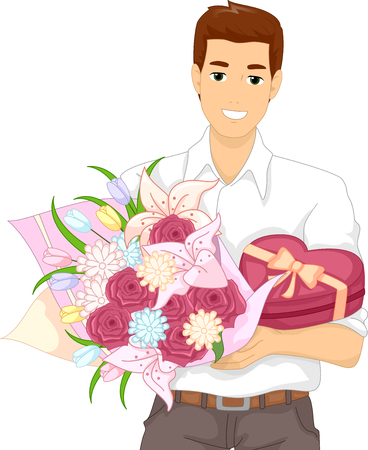 man carrying box: Illustration of a Man Carrying a Box of Chocolates and a Bouquet Flowers
