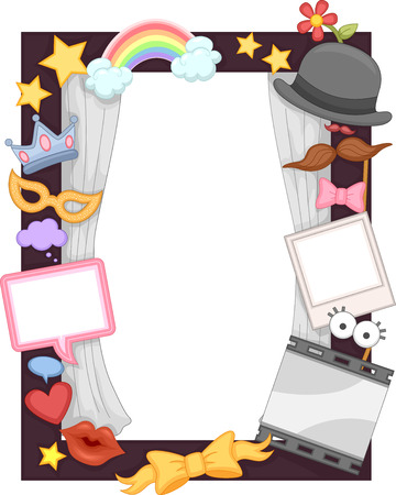 props: Illustration of a Photo Frame Made for Events and Birthday Parties Stock Photo