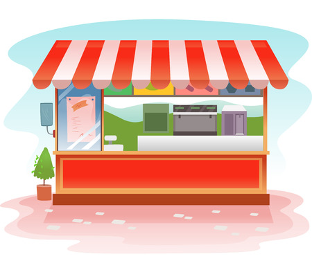 Illustration of a Red Kiosk Store