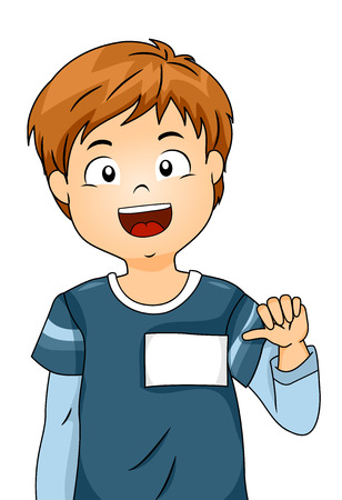 Illustration of a Boy Showing His Blank Name Tag Foto de archivo