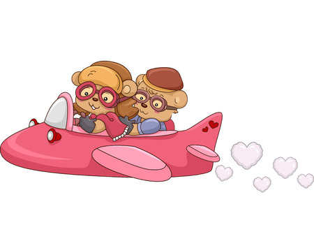 dating and romance: Illustration of a Bear Couple Riding in an Airplane Stock Photo