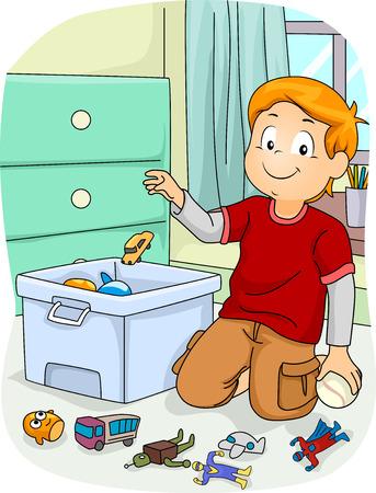 Illustration eines Jungen zu tun Hausarbeit, indem sie seine Spielsachen in einem Store Box Standard-Bild