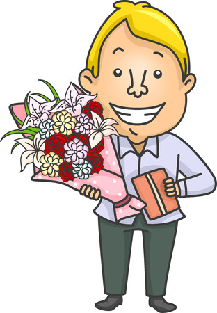 woo: Illustration of a Man Carrying a Gift Together with a Bouquet of Flowers