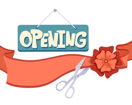 cutting: Illustration of an Opening Signboard and Ribbon Cutting