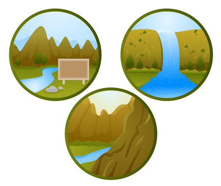 waterway: Icon Illustrations of Different Land and Water Features
