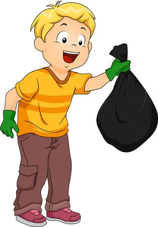 basura: Ilustración de un niño Manejo de una bolsa de basura