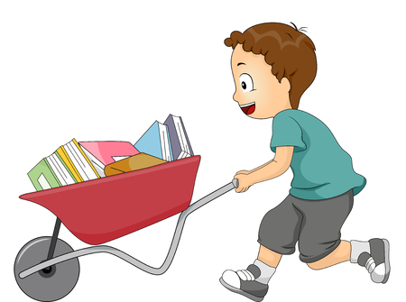 peoples: Illustration of a Boy Pushing a Wheelbarrow Loads of Book On Sale
