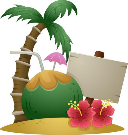 unwind: Illustration of Hawaiian Island with Coconut Drink and Sign Board
