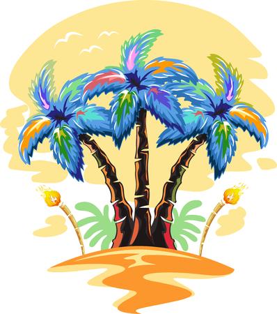 unwind: Illustration of Hawaiian Palm Tree on a Sunset Stock Photo