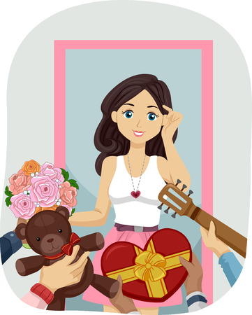 gorgeous: Illustration of a Gorgeous Teenage Girl Flooded with Gifts from Her Suitors