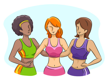 outfit: Illustration of Slim Girls Wearing their Workout Outfit