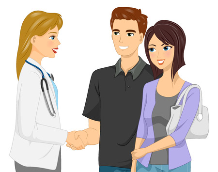 wife: Illustration of Man Shaking Hands with a Doctor Together with His Wife