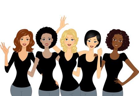 Illustrazione di un gruppo culturalmente diverse di ragazze indossano camicie nere Archivio Fotografico - 55493175