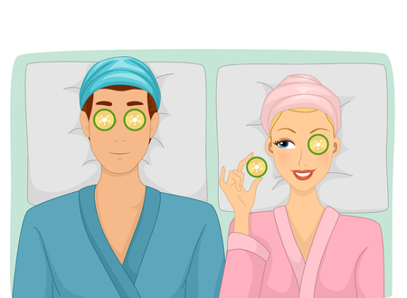 bathrobe: Illustration of a Woman peeping on her Man next to her in a Spa Stock Photo