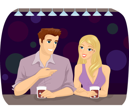 mingle: Illustration of a Man and a Woman Chatting While Having a Drink
