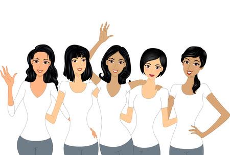amicizia: Illustrazione di belle ragazze che indossano camicie bianche