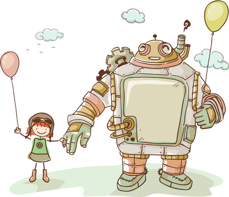stick people: Illustration of a Cute Kid Girl Enjoying the company of her Steampunk Robot Friend