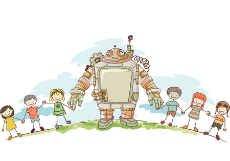 people: Illustration of a set of Kids Holding Hands with their Steampunk Robot