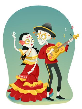 serenade: Illustration of a Coule Sugar Skulls Dancing and Playing the Guitar Stock Photo