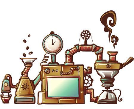 Steampunk Illustratie van een Uitgebreid Ontworpen Koffiezetapparaat Stockfoto