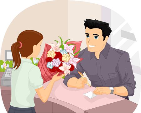 hombre escribiendo: Ilustración de un hombre Escritura de una nota para ir junto con las flores que él realiza su adquisición