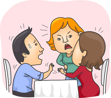 cheater: Illustration of a Girl confronting another Girl on a Date with her Lover
