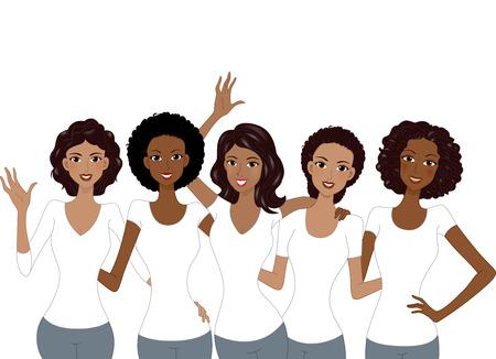 Illustration of African American Girls Wearing White Shirt